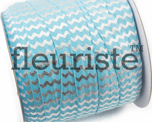 "Printed Fold Over Elastic-5/8"" Width Turquoise Silver Chevron"