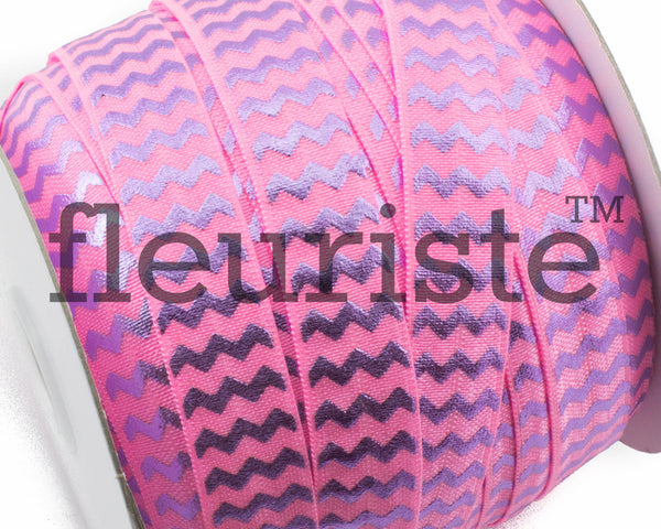 "Printed Fold Over Elastic-5/8"" Width Passion Fruit Chevron"