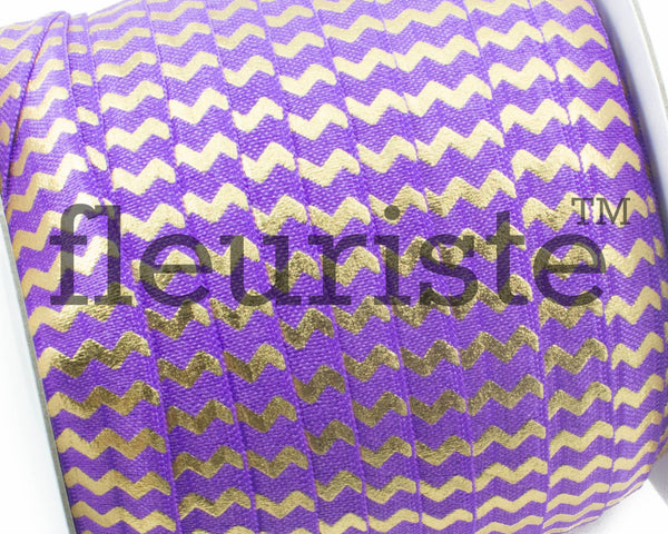 "Printed Fold Over Elastic-5/8"" Width Purple Gold Chevron"