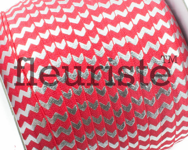 "Printed Fold Over Elastic-5/8"" Width Red Silver Chevron"