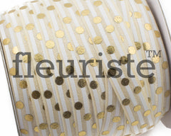 "Printed Fold Over Elastic-5/8"" Width Ivory Cream Stripe Gold Dots"
