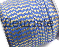 "Printed Fold Over Elastic-5/8"" Width Navy Gold Chevron"