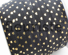 "Printed Fold Over Elastic-5/8"" Width Black Gold Hearts"