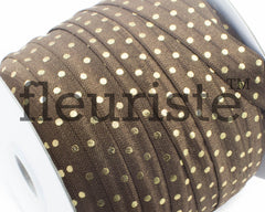 "Printed Fold Over Elastic-5/8"" Width Brown Gold Polka Dot"