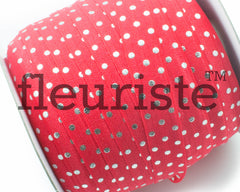 "Printed Fold Over Elastic-5/8"" Width Red Silver Polka Dots"