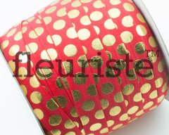 "Printed Fold Over Elastic-5/8"" Width Red Gold Large Polka Dots"