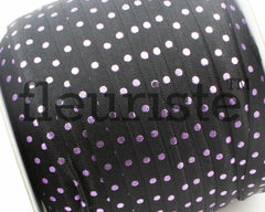 "Printed Fold Over Elastic-5/8"" Width Black Silver Polka Dots"