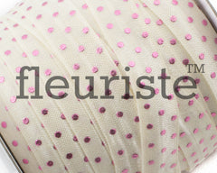 "Printed Fold Over Elastic-5/8"" Width Cream Pink Polka Dots"