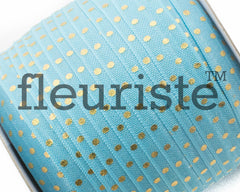 "Printed Fold Over Elastic-5/8"" Width Turquoise Gold Polka Dots"