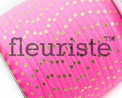 "Printed Fold Over Elastic-5/8"" Width Passion Fruit Gold Polka Dots"