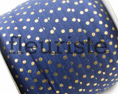 "Printed Fold Over Elastic-5/8"" Width Navy /Gold Polka Dots"