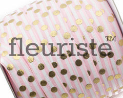 "Printed Fold Over Elastic-5/8"" Width Pink Stripe Gold Polka Dots"