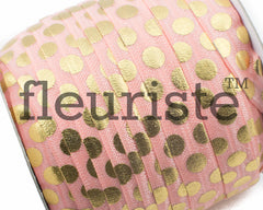 "Printed Fold Over Elastic-5/8"" Width Light Coral Gold Large Polka Dots"