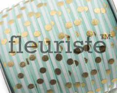 "Printed Fold Over Elastic-5/8"" Width Aqua Stripe Gold Large Polka Dots"