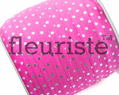 "Printed Fold Over Elastic-5/8"" Width Hot Pink Silver Polka Dots"
