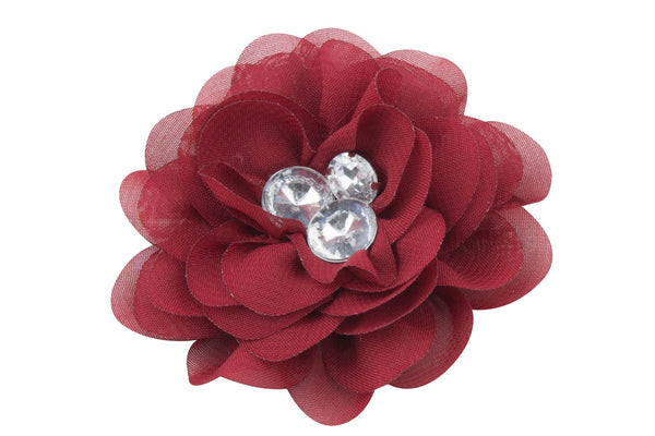 Chiffon Rhinestone Flowers 3 Inches - Pick Your Color