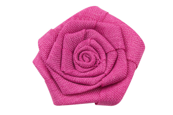 Burlap Flat Rolled Rosette Flowers - Pick Your Color
