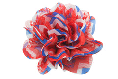 4th of July Chevron Flower - 3.75""