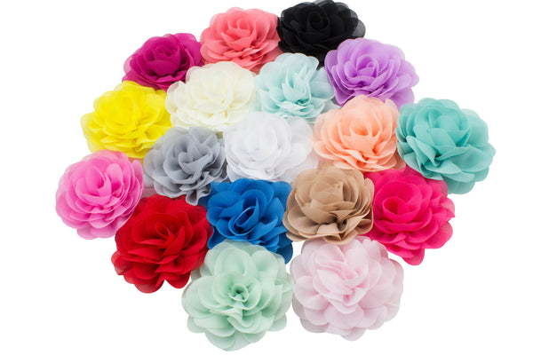 "3"" Chiffon Rose Flower - Pick Your Color"