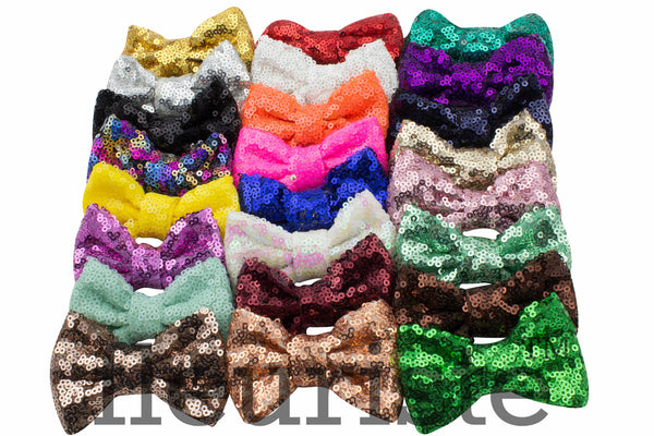"Sequin Glitter  Bows 3""  - Pick Your Color"