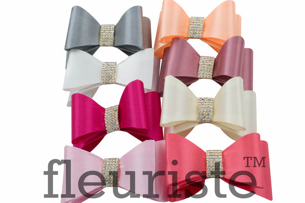 Satin Rhienstone Bows 2.8 inches - Pick Your Color