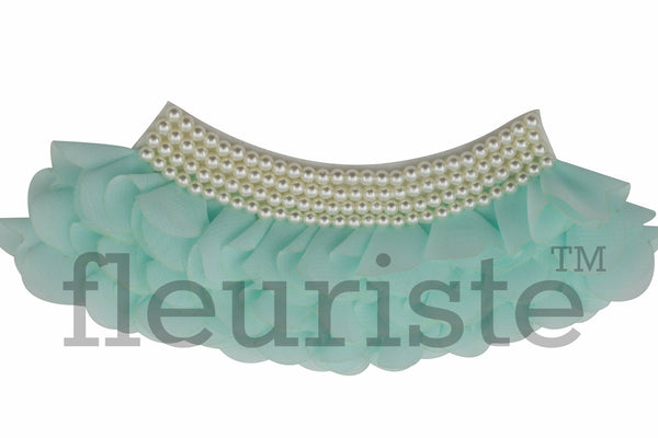 Collar Chiffon Appliques 7  by 3 inches- Choose Your Colors