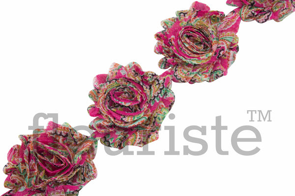Patterned Shabby Trim by the Yard-Hot Pink Paisley
