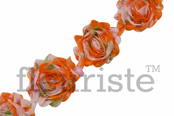 Patterned Shabby Trim by the Yard-Orange Floral