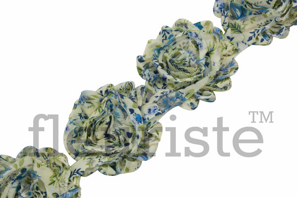 Patterned Shabby Trim by the Yard- Blue Blossom