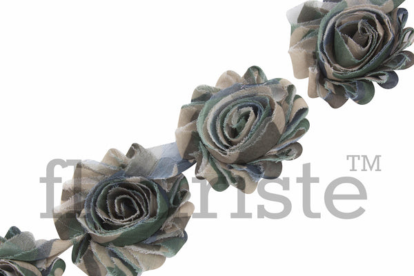 Patterned Shabby Trim by the Yard- Green Camo