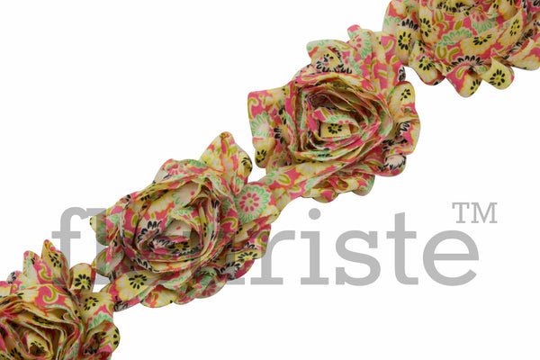 Patterned Shabby Trim by the Yard- Yellow Floral