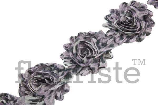 Patterned Shabby Trim by the Yard- Gray Leopard