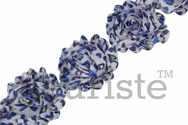 Patterned Shabby Trim by the Yard- Blue Leopard 102