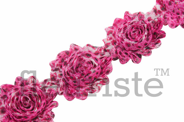 Patterned Shabby Trim by the Yard- Hot Pink Leopard