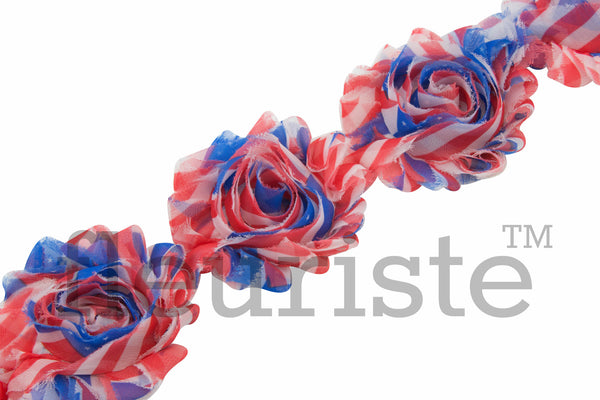 Patterned Shabby Trim by the Yard- 4th of July, Patriotic, Red Blue Stripes