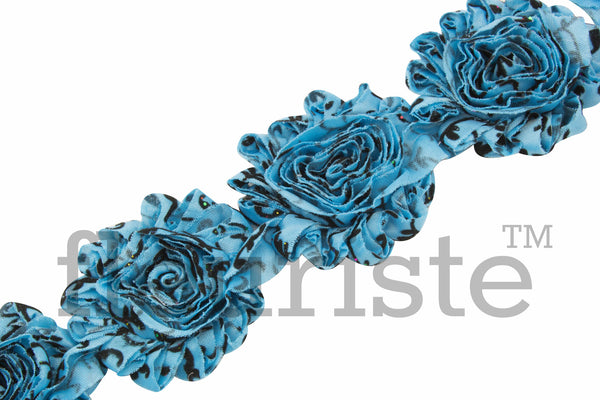 Patterned Shabby Trim by the Yard- Turquoise Damask