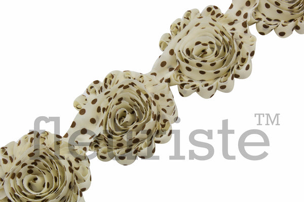 Patterned Shabby Trim by the Yard- Ivory Brown Polka Dots