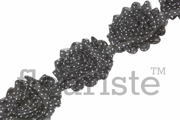 Patterned Shabby Trim by the Yard- Black White Polka Dots