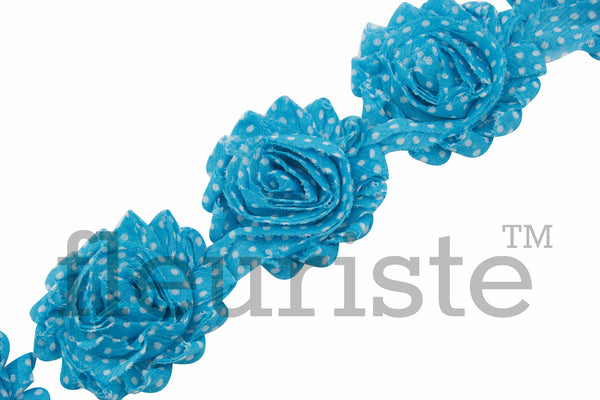 Patterned Shabby Trim by the Yard- Turquoise White Polka Dots