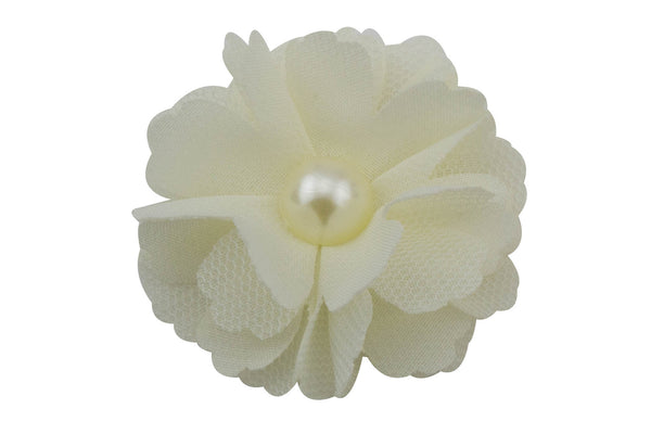 "Small Flower with Pearl 2"" - Pick Your Color"