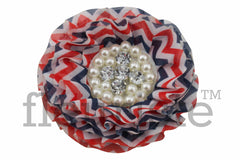 "4th of July Chevron Flower - 3.5"" Patriotic Flower"