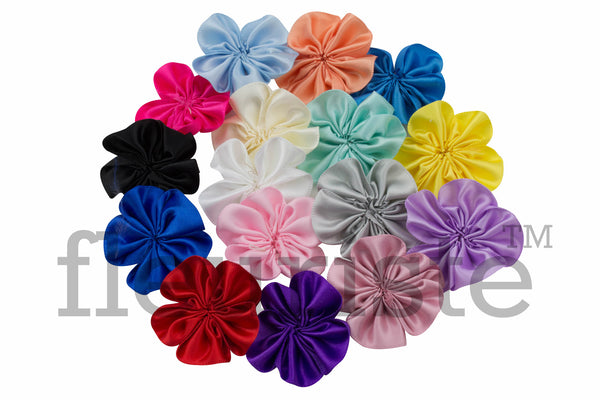 "1.5"" Ribbon Satin Flower - Pick Your Color"