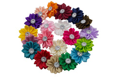 "1.5"" Ribbon Satin Flower  with Rhinestone - Pick Your Color"