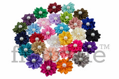 "1.5"" Ribbon Satin Flower with Pearl - Pick Your Color"