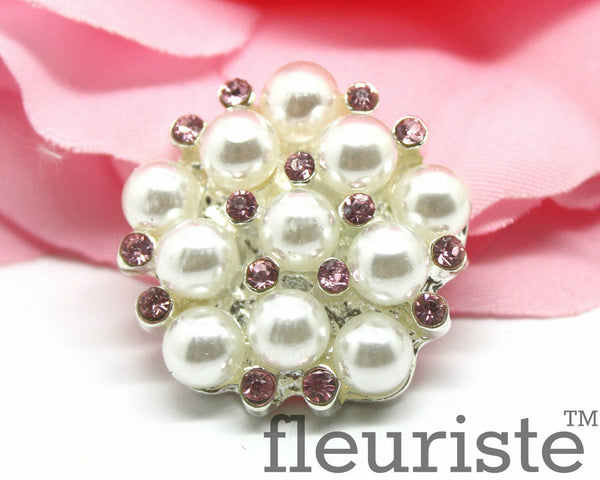 Pearl Rhinestones Buttons Flat Back