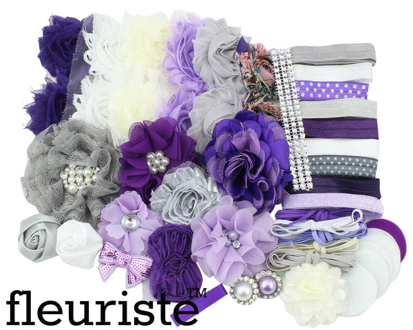 Baby Shower Headband DIY Kit 112 Purple Grey