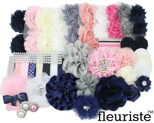 Baby Shower Headband DIY Kit 111 Navy Pink