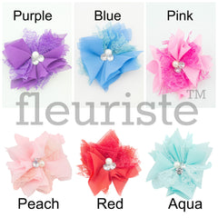 "2.75"" Chiffon Lace Rhinestone Flower - Pick Your Color"