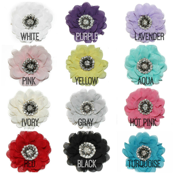Chiffon Flowers 3.5 inch - Pick Your Color