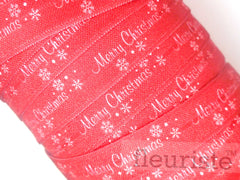 "Christmas Fold Over Elastic-5/8"" Width- White Merry Christmas on Red"